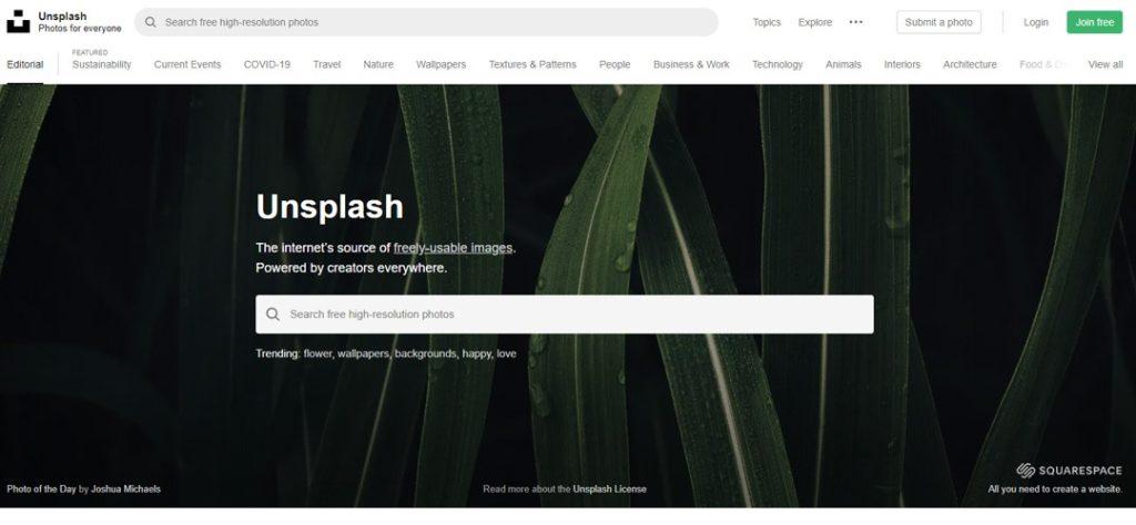 Unsplash Banco de imágenes
