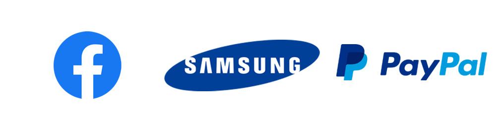 Logos azul Facebook, Samsung, Paypal