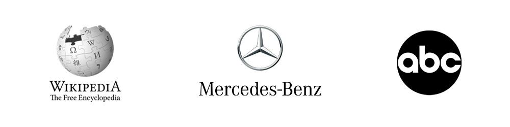 Lopotipos:  Wikipedia, Mercedes Benz, ABC