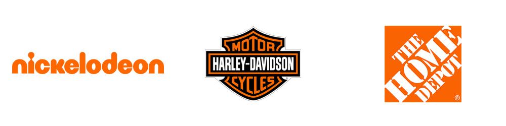 Logotipos: Nickelodeon, Harley Davidson, The Home Depot