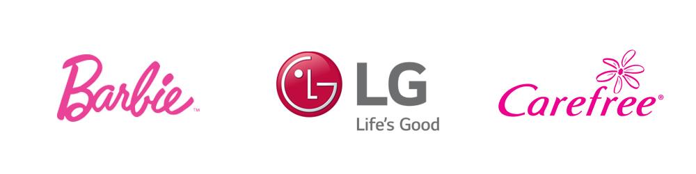 Logotipos: Barbie, LG, Carefree
