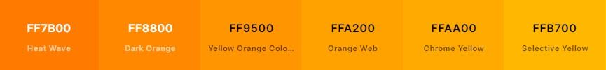 Paleta de color naranja