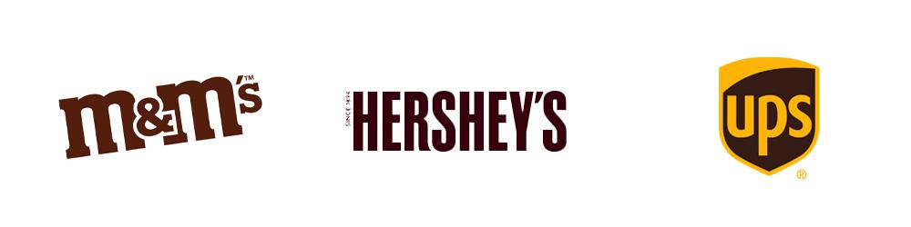 Logotipos:  M&M, Hershey's, UPS